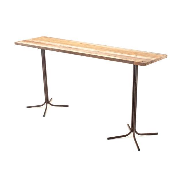 tampo madeira de demoli o 2 20x0 60m e duas bases ferro alta para mesa drink 1 00m alt arte. Black Bedroom Furniture Sets. Home Design Ideas